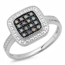 Diamond Ladies Cocktail Right Hand Ring 0.25 Ct Sterling Silver Round Champagne