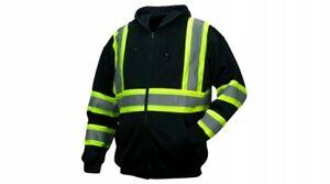 Pyramex RSZH3411 ANSI Type O Class 1 Black Reflective Premium Zipper Sweatshirt