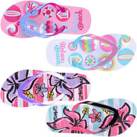 GIRLS URBAN BEACH FLIP FLOPS SANDALS SIZE UK 10 - 2 KIDS SWIM SEASIDE FLOWER