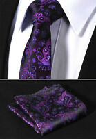 Men's Berry Purple Paisley & Black Tie Wedding Floral Silk Pocket Hanky Set d34