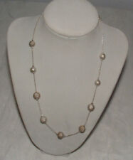 """VintageSilver Tone 19 1/2 """" Necklace with Sparkly Beads-Fancy- Ajustable-"""