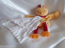 Doudou oiseau orange et son mouchoir,  Sucre d'Orge, Cajou