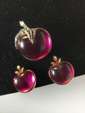 Vintage Signed SARAH COVENTRY Brooch Pin Clip Earrings Jelly Belly Apples