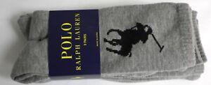 Polo Ralph Lauren Socks Gray with large Black Pony Logo Solid 3 Pair pk NIP