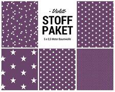 Stoffpaket violett 5x (0,5 x 1,50m) Patchworkpaket Baumwolle Nähpaket DIY Stoffe