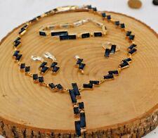 925 Sterling Silver Handmade Sapphire Turkish Ring Earring,Bracelet,Pendant Set
