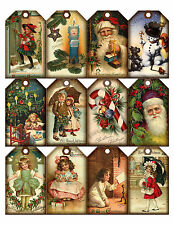 CHRISTMAS VINTAGE REPLICA (09) SCRAPBOOK CARD EMBELLISHMENTS HANG TAGS