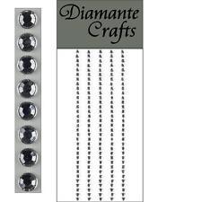 165 x 3mm Clear Diamante Self Adhesive Strips Rows Rhinestone Craft Gems