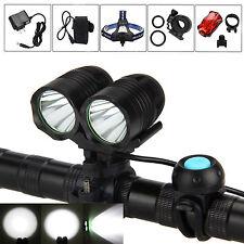 6000Lumen 2x CREE XML T6 LED Front Bike Bicycle Headlamp Head Rear Light 4x18650