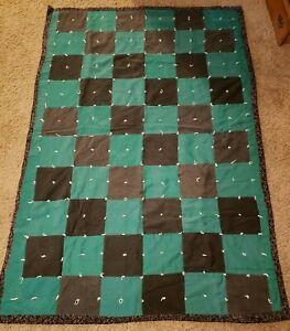 "Handmade Square Denim & Corduroy Patchwork Quilt, Blanket, Throw 74"" x 50.5"""
