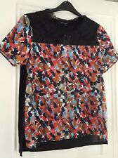 French Connection multi coloured top with lace bodice size L
