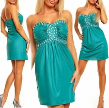 Miss Sexy Donna Bandeau Push Up mini abito party dress glam pietre verde 34/36/38