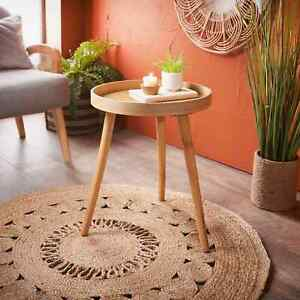 Unique Contemporary Style Natural Finish Side End Table With Cane Detail