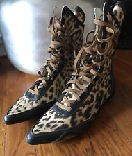 ROBERTO CAVALLI ANKLE BOOTS LEATHER LEOPARD PRINT LACE UP SIZE US 8 EURO 38