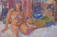 Stylish John Harvey Oil Painting Of A Nude Lady (St Ives Artist / Cornish Art)