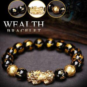 Feng Shui Black Obsidian Alloy Bracelet Attract Wealth Good Luck Jewellery Gift