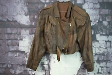 Womens Real Leather Brown Jacket size S No.F642 15/11