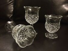 3 Homco Home Interiors Clear Glass Diamond Pattern Footed Votive Candle Holders