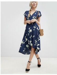 Free People High Low Button Front Floral Midi Dress Navy Medium