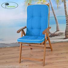 6 Exklusive Sun Garden Gartenpolster in blau Sessel Auflagen Kissen Sitzkissen