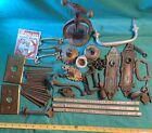 Vintage Junk Drawer Lot Pulls Bell System Solder Switch Plates Nails + Steampunk