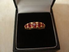 18 CARAT YELLOW GOLD RUBY & DIAMOND SET ETERNITY OR DRESS RING MADE IN UK BNIB