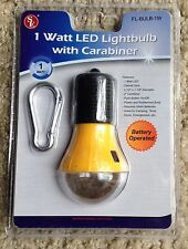 1 Watt LED Battery Operated Light Bulb W/ Carabiner Great for Camping & Tents