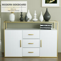 Morden Sideboard Buffet Cabinet Cupboard Console Table Glass Top Golden&White
