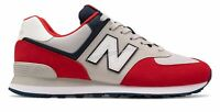 New Balance Men's 574 Shoes Red with Grey