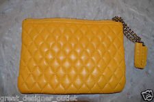 GUESS by Marciano Quilted Leather Purse Clutch  Wristlet Yellow Smalll