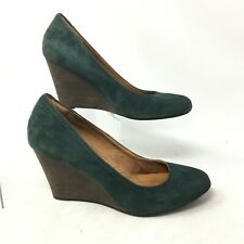 Clarks Indigo Purity Snow Wedge Heel Pumps Shoe Round Toe Suede Green Womens 10M