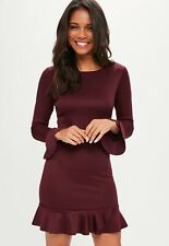 MISSGUIDED BURGUNDY LONG SLEEVE FRILL HEM BODYCON DRESS SIZE 12
