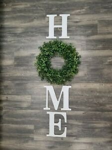 Distressed White Wood Home Letters And Boxwood Wreath Farmhouse Rustic Wall...