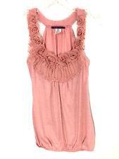 Julie's Closet Rose Floral 3D Neckline Pink Sleeveless Shirt Blouse Womens Small