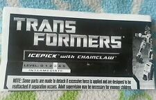 TRANSFORMERS PCC ICEPICK INSTRUCTION BOOKLET ONLY