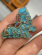 Antique Tested  Silver Gilt Kingfish Feather Paving Butterfly Brooch (Some Lost)