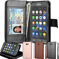 For Samsung Galaxy J3 Lun Pro Emerge 2017 Case Leather Card Holder Wallet Cover