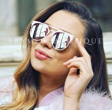 ROSE Gold PINK Reflective MIRRORED AVIATOR SUNGLASSES Celebrity STYLE Miami .8