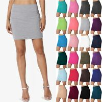 TheMogan S~XL Basic Stretch Thick Cotton Jersey Double Layered Tube Mini Skirt