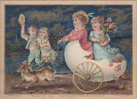 "C 1910 Easter Card Embossed Rabbits Pulling Girls in Egg Cart 4"" x 6""  C2"