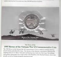 MARSHALL ISLANDS – 5$ UNC COIN 1995 YEAR KM#219 VIETNAM WAR IN FOLDER