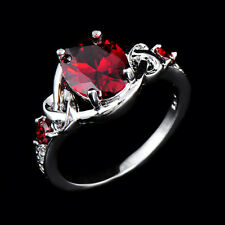 10*8mm Red Oval Rubise Gem Wedding Ring Size 6-10 Women's 10Kt White Gold Filled