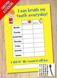 Tooth Teeth Brushing Reward Chart - Kids Childrens Sticker Star - Girls Boys
