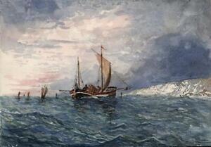 CHARLES H HOWARD Watercolour Painting BOATS OFF COASTLINE 1883 - SEASCAPE