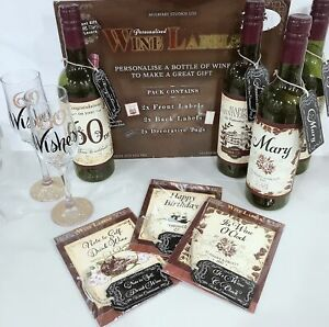 """PERSONALISED Birthday """"E-K"""" Name WINE CHAMPAGNE LABEL and Tag Gift 3pcs/6pcs"""