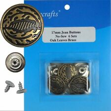 17 mm No-Sew Brass Replacement Jean Tack Buttons (BSA126)  6 CT.