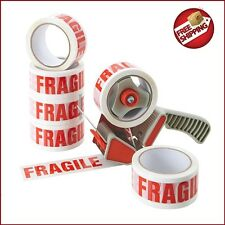 1 Tape Gun Dispenser+6 Rolls Of Fragile Packaging Parcel Tape Packing 48mm x 66m