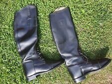 "Vintage ""Hawkins"" English Made Black Leather Riding Boots Size UK 6"