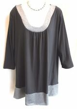MARC BOUWER Black Jersey Silver Scoop Neck & Hem Top Sz L Tunic Blouse Dressy