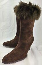 Newport News Wos Boots 12210 US 8 M Brown Suede Faux Fur Top Zip Heels 5309